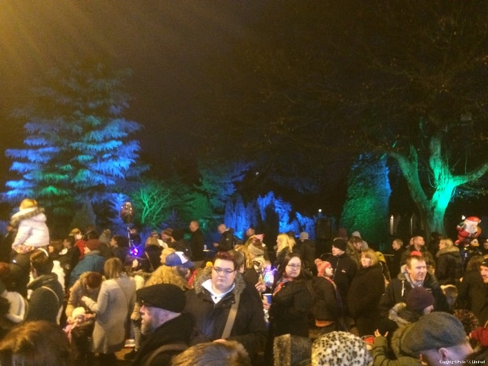 Bedworth Christmas Lights Event Production, architectural Outdoor Lighting with Large PA System, Rugby, Warwickshire, West Midlands
